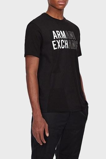 Armani Exchange % 100 Pamuk Bisiklet Yaka Regular Fit Erkek T Shirt 6KZTFC ZJH4Z 1200 SİYAH