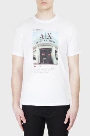 Armani Exchange - Armani Exchange Erkek T Shirt S 6GZTAX ZJH4Z 1100 BEYAZ