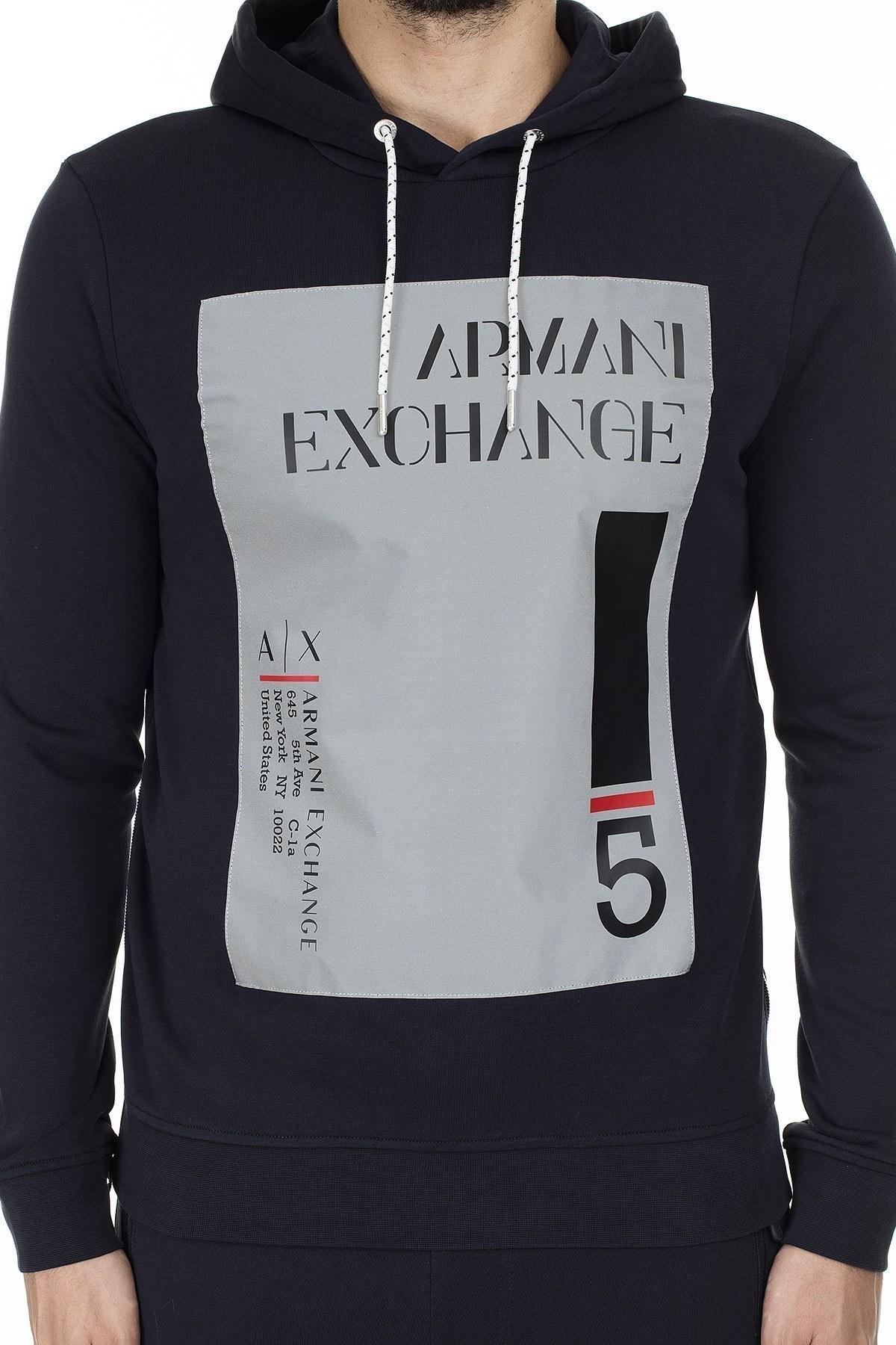 Armani Exchange Fermuar Detaylı Reflektör Baskılı Kapüşonlu Erkek Sweat 3HZMLB ZJ6FZ 1583 LACİVERT