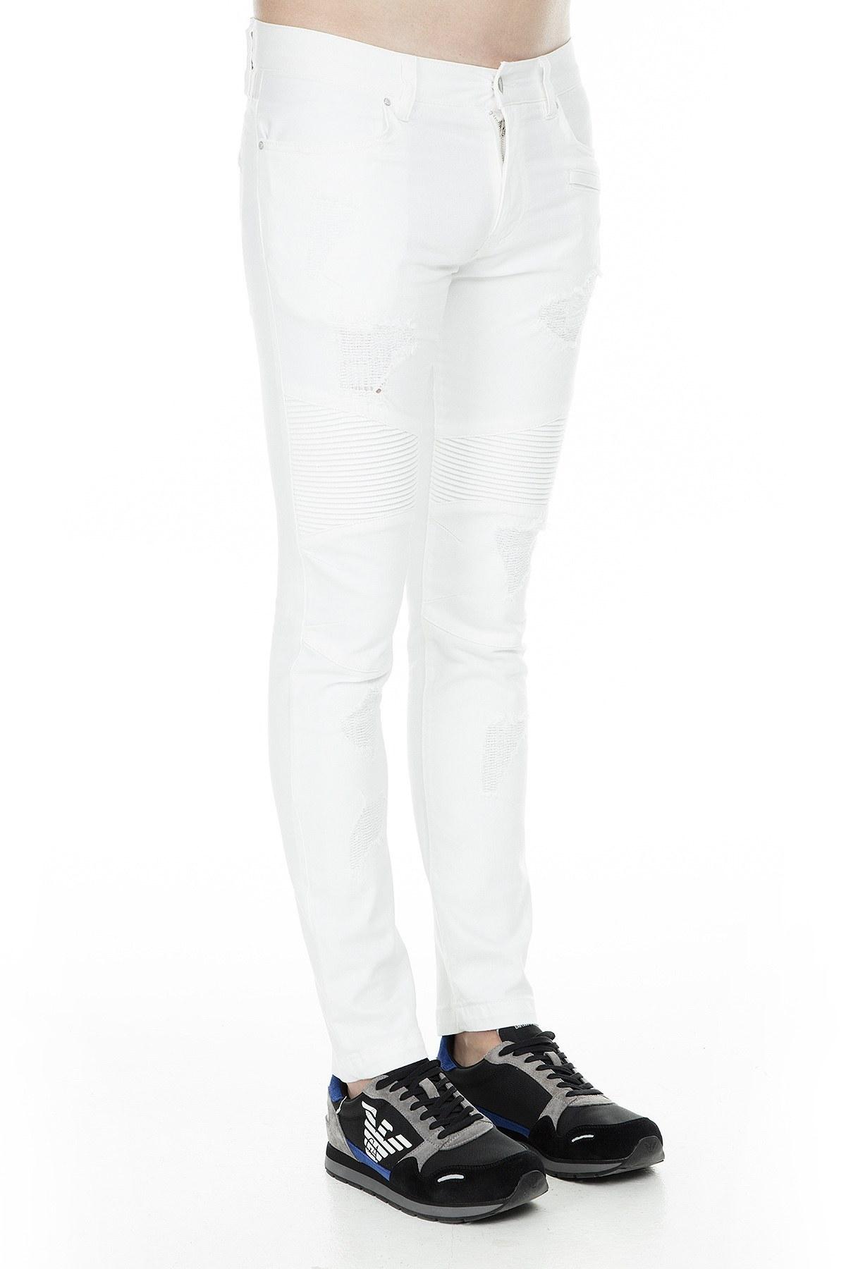 Armani Exchange J27 Jeans Erkek Pamuklu Pantolon 3GZJ27 Z1AAZ 1100 BEYAZ