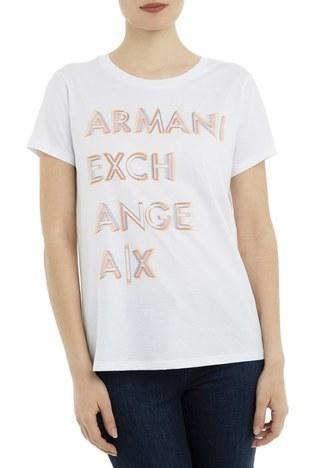 Armani Exchange - Armani Exchange Kadın T Shirt 3GYTAH YJ16Z 1000 BEYAZ