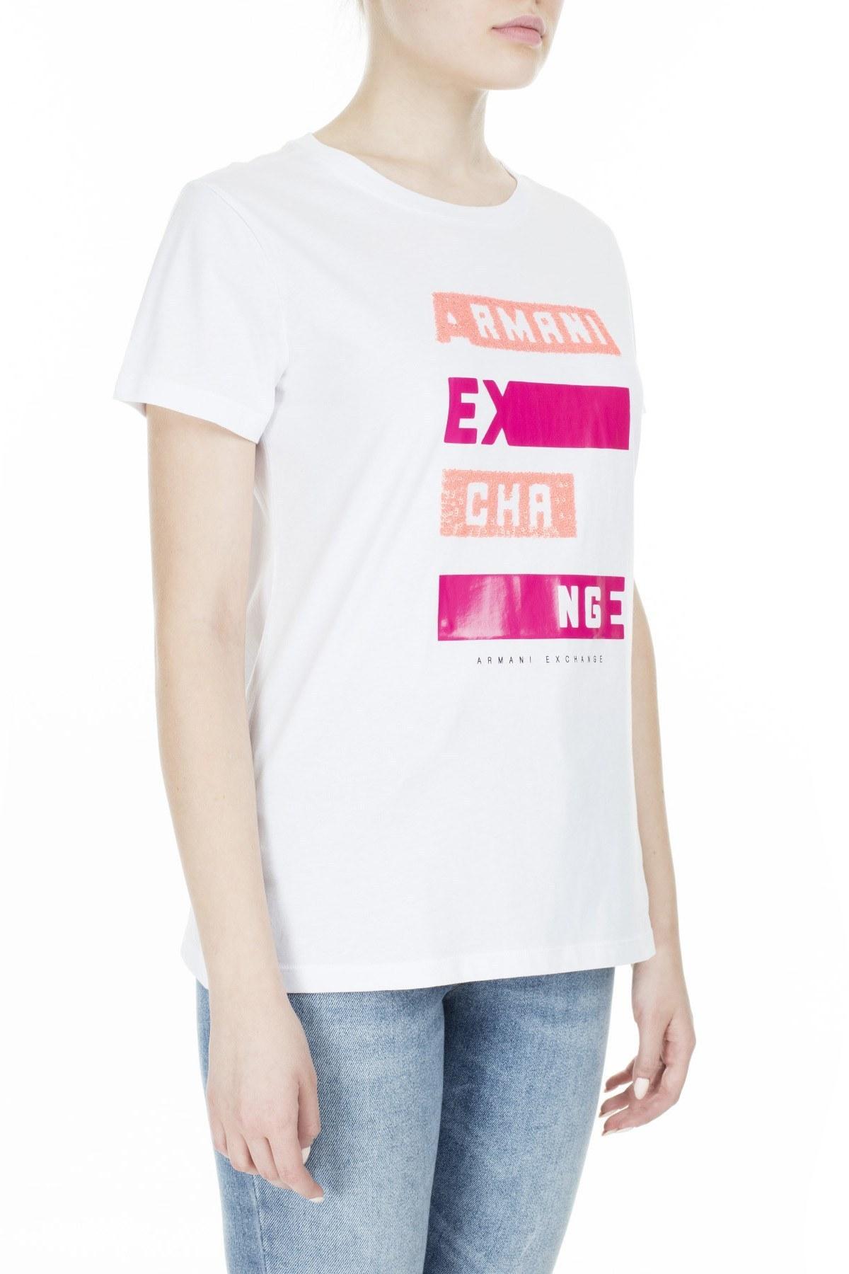 Armani Exchange Bayan T Shirt 3HYTAB YJ73Z 1000 BEYAZ