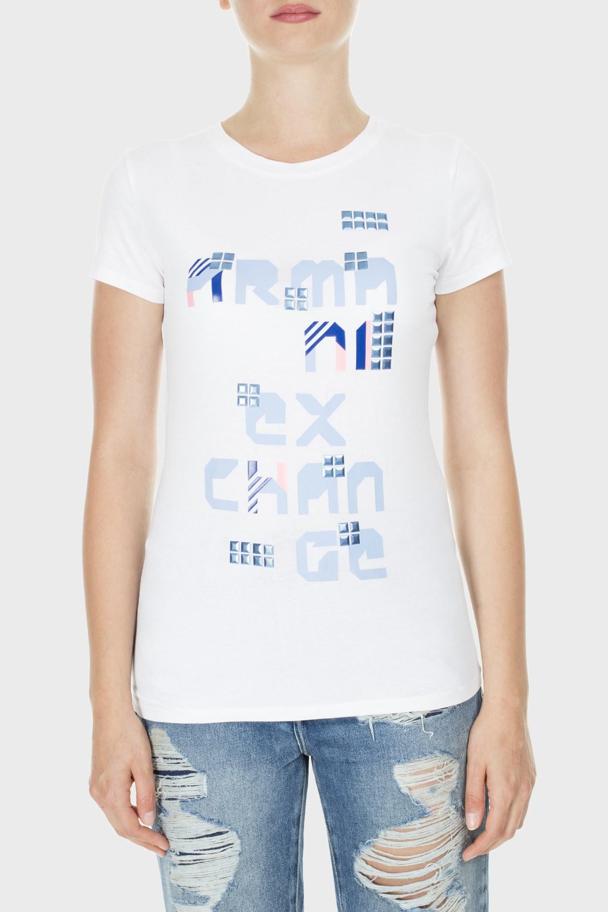 Armani Exchange Bayan T Shirt 3HYTAV YJC7Z 1000 BEYAZ