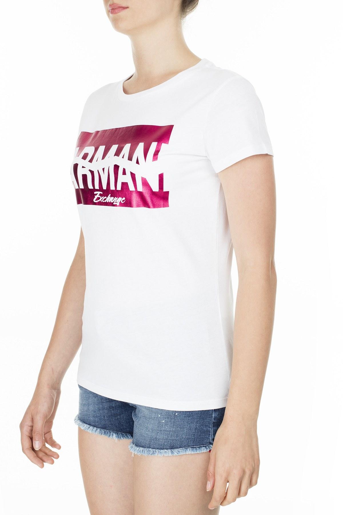 Armani Exchange Kadın T Shirt S 6GYTAB YJG3Z 1000 KIRIK BEYAZ