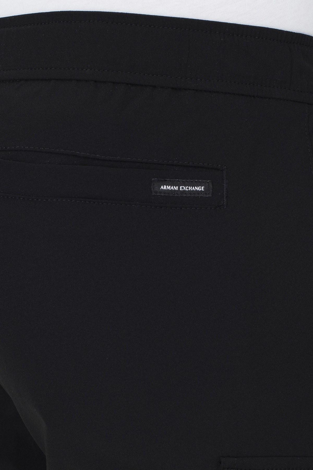 Armani Exchange Kemerli Paçası Lastikli Bol Kesim Erkek Pantolon 3HZP18 ZNHQZ 1200 SİYAH