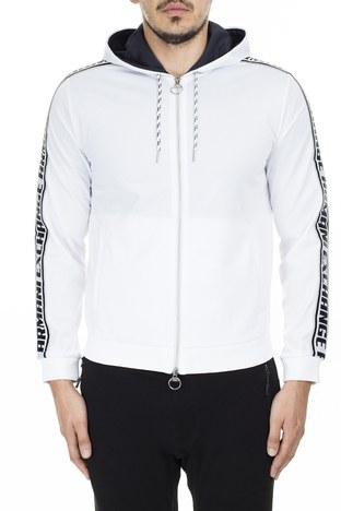 Armani Exchange Kolları Kontrast Logo Bantlı Kapüşonlu Erkek Sweat 3HZMFM Z8M8Z 1100 BEYAZ