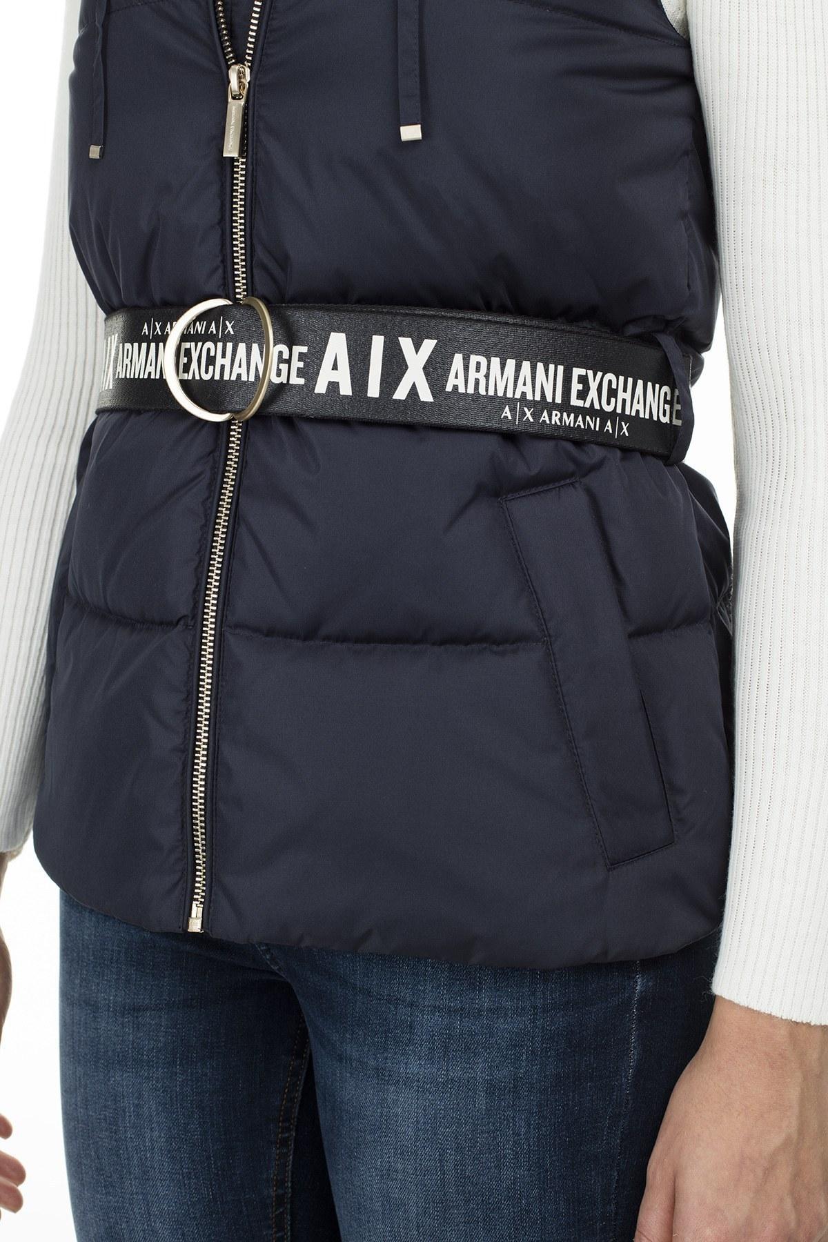 Armani Exchange Kontrast Kemerli Kaz Tüyü Dolgulu Kapüşonlu Kadın Yelek S 6GYQ09 YNNAZ 1593 LACİVERT