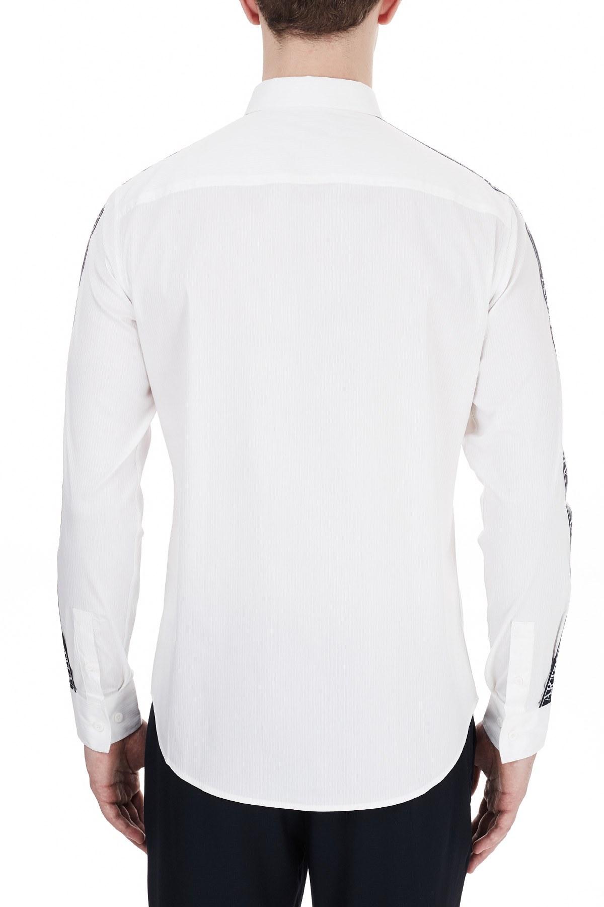 Armani Exchange Kontrast Logo Baskılı Uzun Kollu Erkek Gömlek 6HZC06 ZNY2Z 1100 BEYAZ