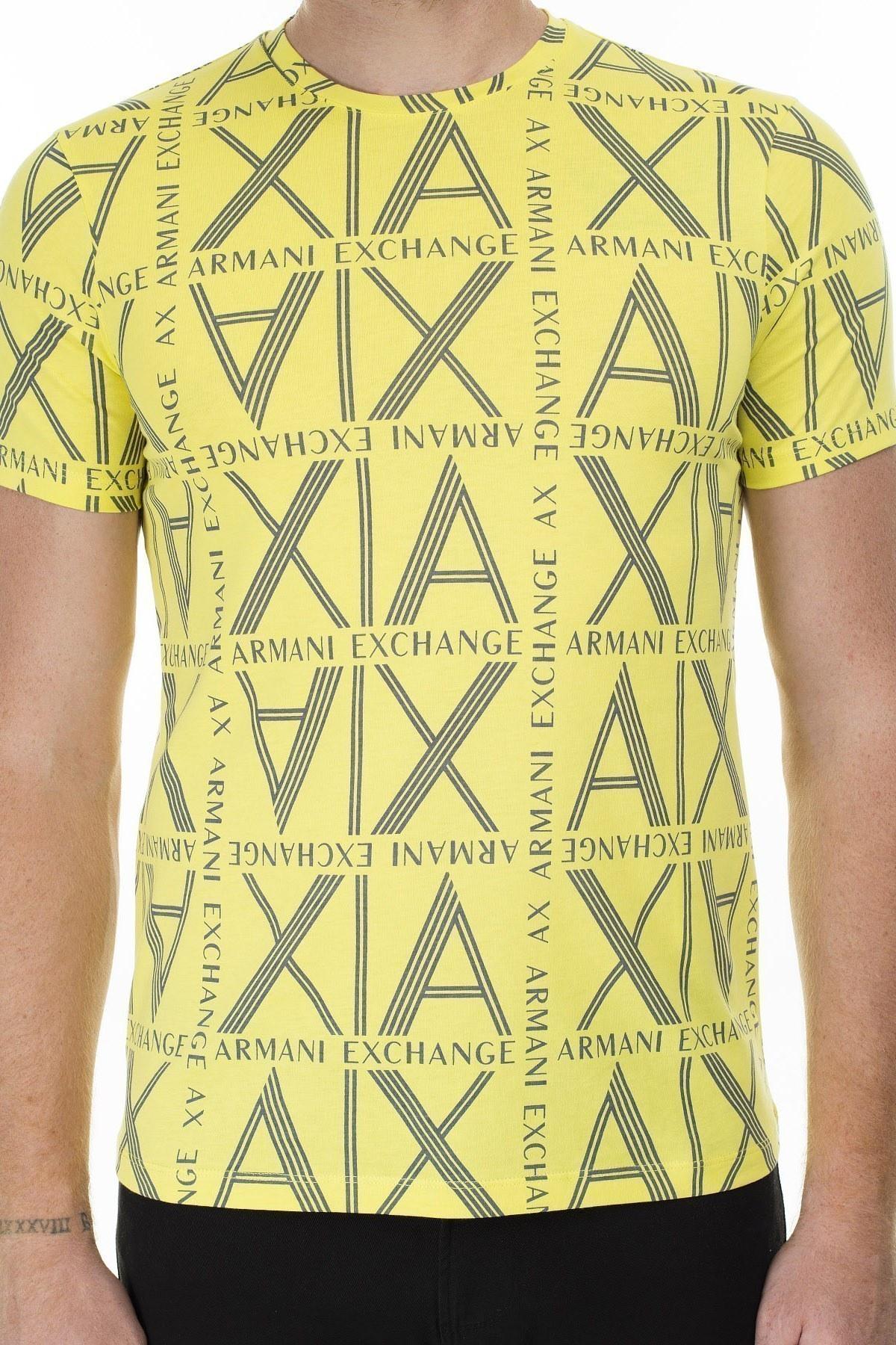 Armani Exchange Logo Baskılı % 100 Pamuk Bisiklet Yaka Erkek T Shirt 3HZTGC ZJH4Z 2661 LİMON