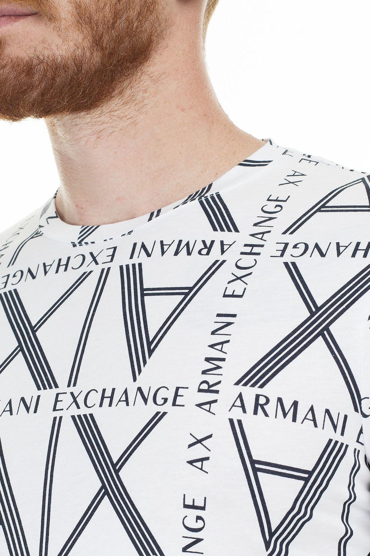 Armani Exchange Logo Baskılı % 100 Pamuk Bisiklet Yaka Erkek T Shirt 3HZTGC ZJH4Z 7178 BEYAZ