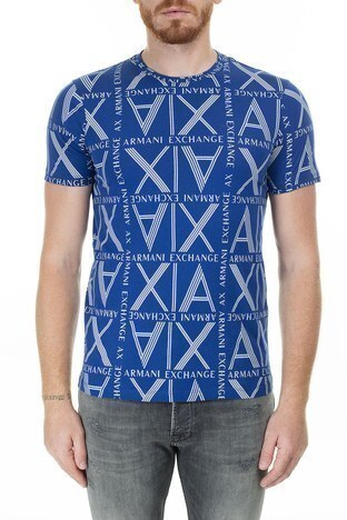 Armani Exchange - Armani Exchange Logo Baskılı % 100 Pamuk Bisiklet Yaka Erkek T Shirt 3HZTGC ZJH4Z 9503 SAKS