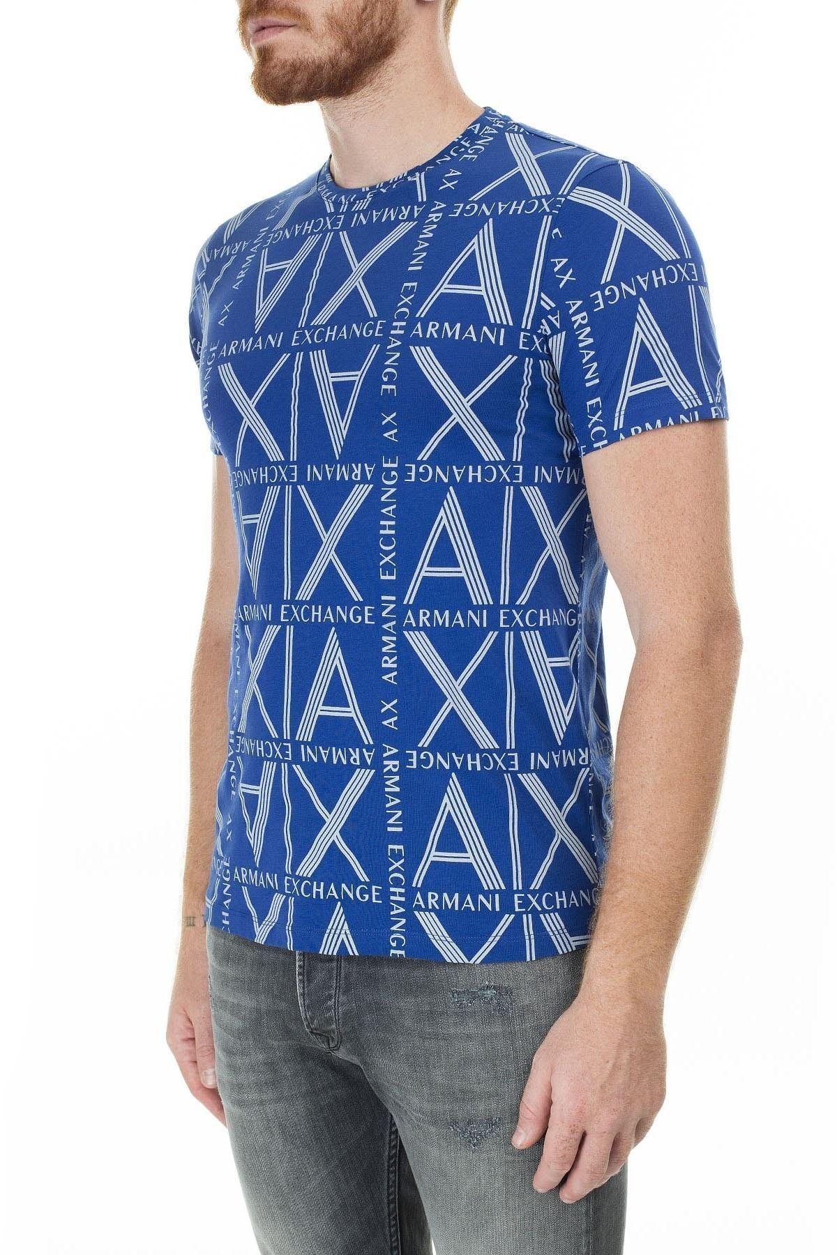 Armani Exchange Logo Baskılı % 100 Pamuk Bisiklet Yaka Erkek T Shirt 3HZTGC ZJH4Z 9503 SAKS