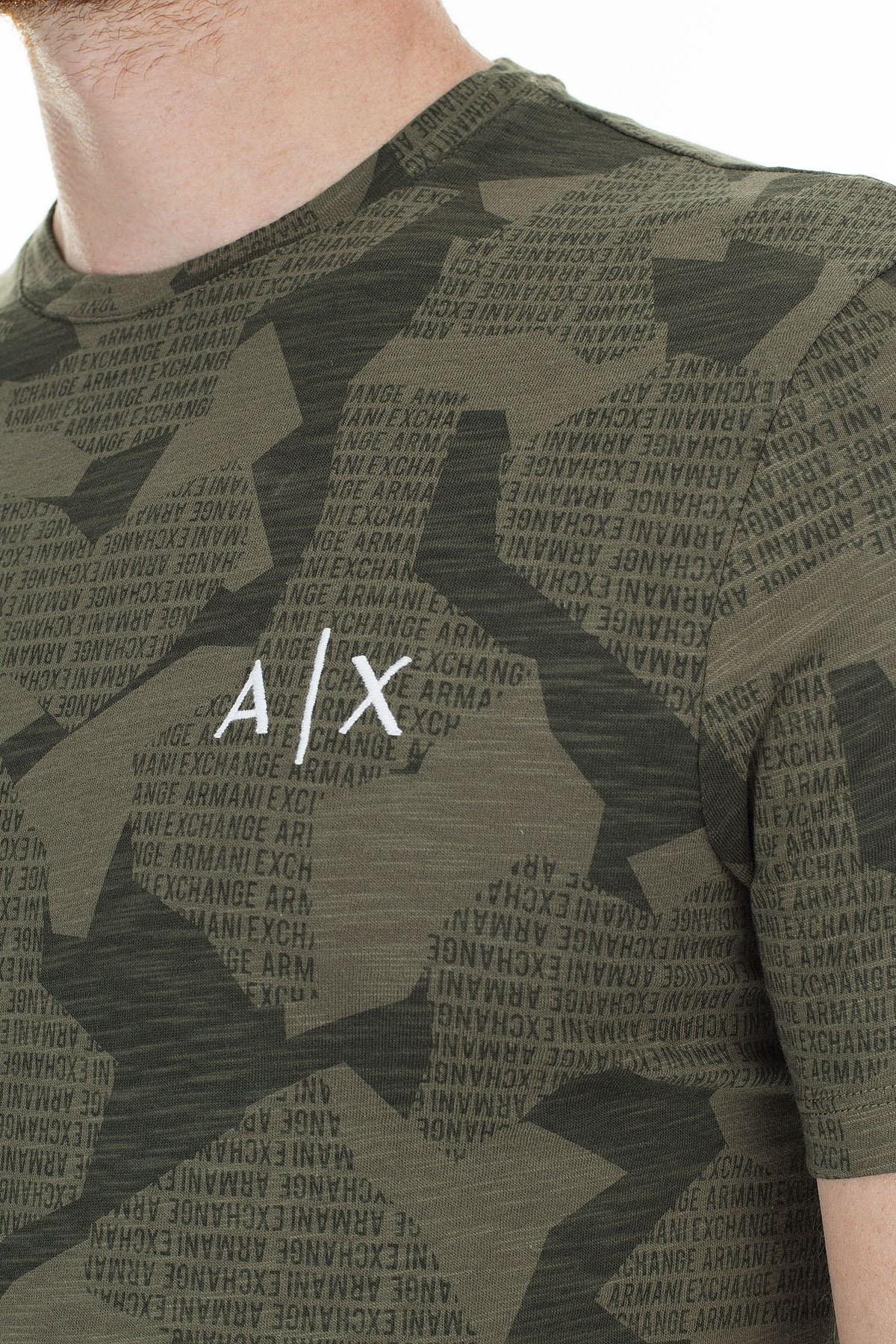 Armani Exchange Logo Baskılı % 100 Pamuk Bisiklet Yaka Erkek T Shirt 3HZTHA ZJ7DZ 2889 YEŞİL