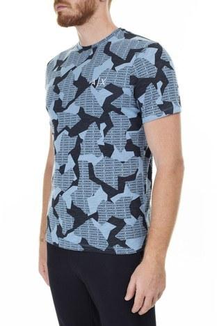 Armani Exchange Logo Baskılı % 100 Pamuk Bisiklet Yaka Erkek T Shirt 3HZTHA ZJ7DZ 9510 MAVİ