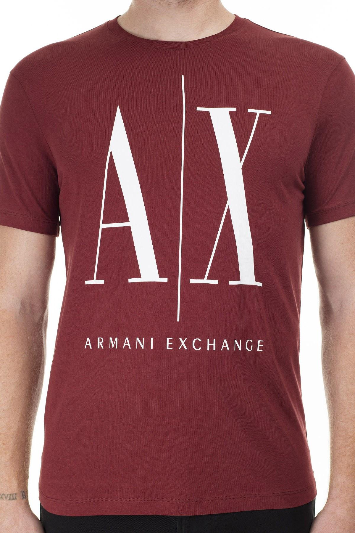 Armani Exchange Logo Baskılı Bisiklet Yaka Erkek T Shirt 8NZTPA ZJH4Z 1701 KİREMİT