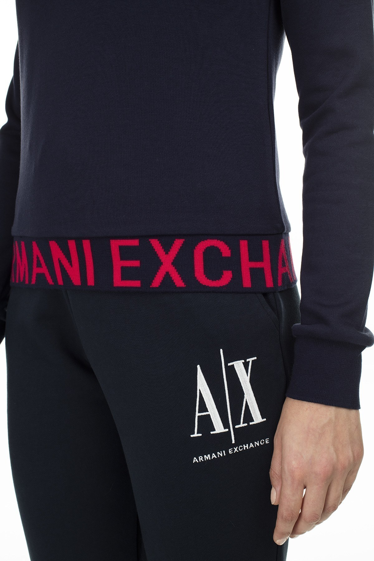 Armani Exchange Logo Baskılı Bisiklet Yaka Bayan Sweat S 6GYM05 YJE5Z 1593 LACİVERT