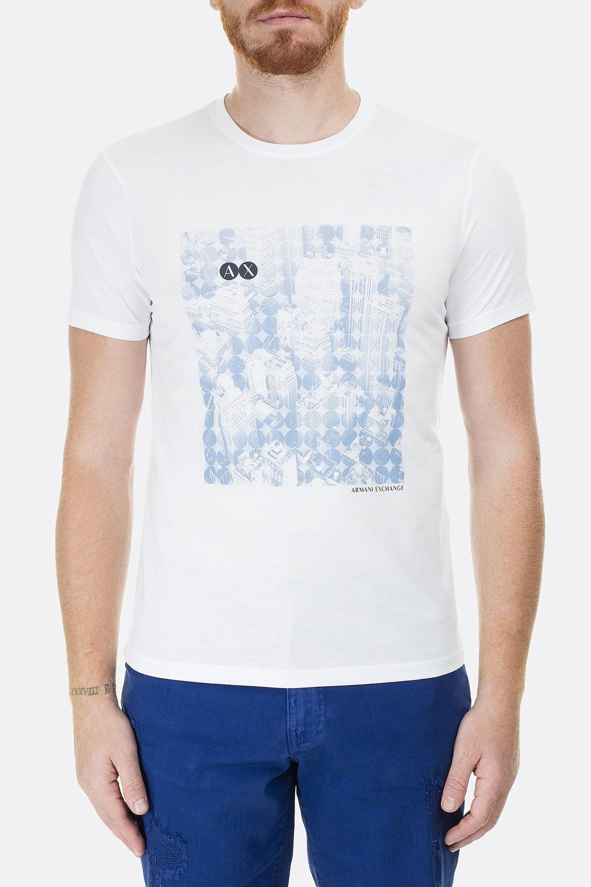 Armani Exchange Logo Baskılı Bisiklet Yaka Regular Fit Erkek T Shirt 3HZTAY ZJA5Z 1100 BEYAZ