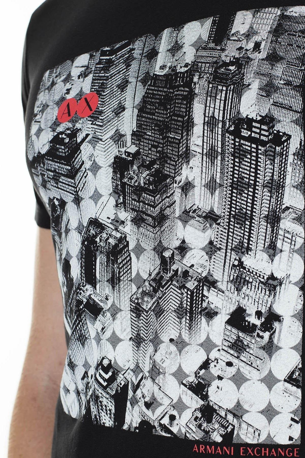 Armani Exchange Logo Baskılı Bisiklet Yaka Regular Fit Erkek T Shirt 3HZTAY ZJA5Z 1200 SİYAH