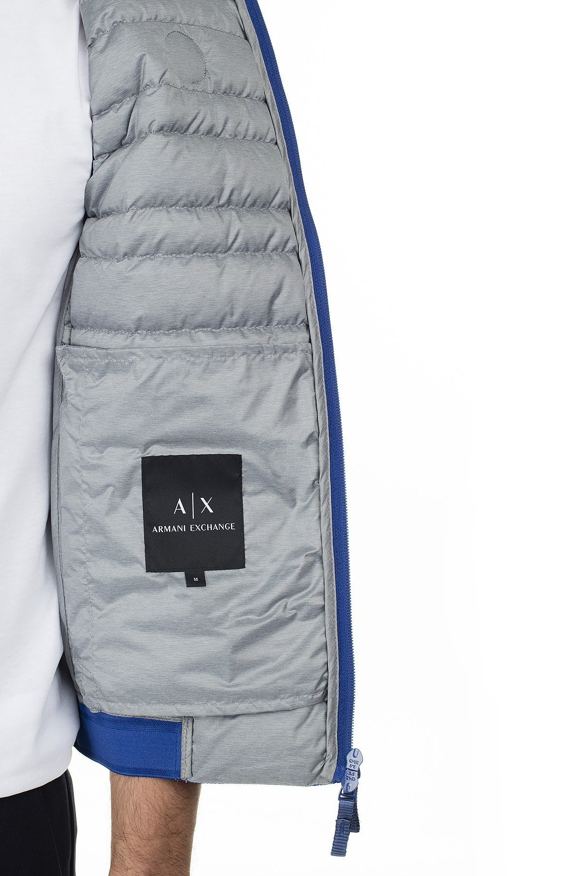 Armani Exchange Logo Baskılı Dik Yaka Kaz Tüyü Dolgulu Şişme Erkek Yelek 8NZQ51 ZNW3Z 9524 MAVİ