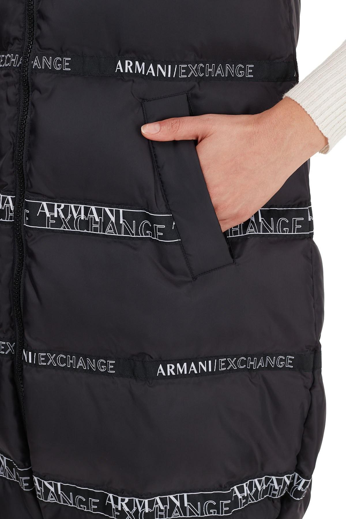 Armani Exchange Logo Baskılı Dik Yaka Uzun Kadın Yelek 6HYQ08 YNKLZ 1200 SİYAH