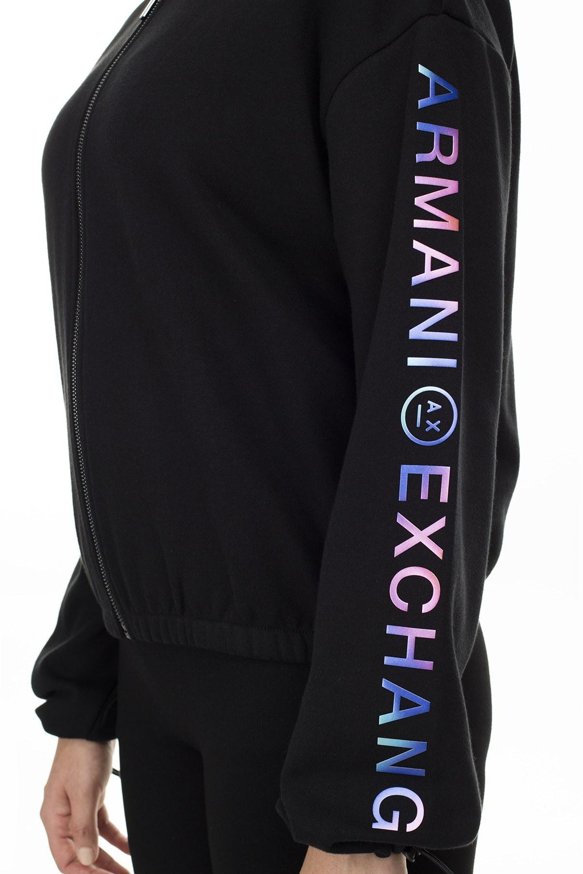 Armani Exchange Logo Baskılı Fermuar Kapama Bayan Sweat 6GYM77 YJ44Z 1200 SİYAH
