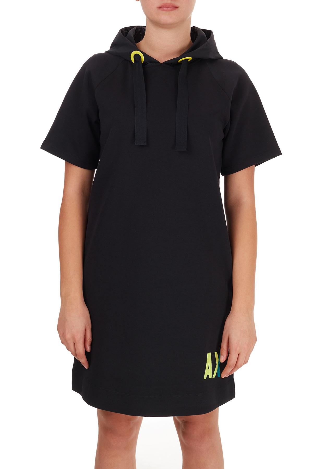 Armani Exchange Logo Baskılı Kapüşonlu Cepli Kadın Elbise 6HYA85 YJ6EZ 1200 SİYAH