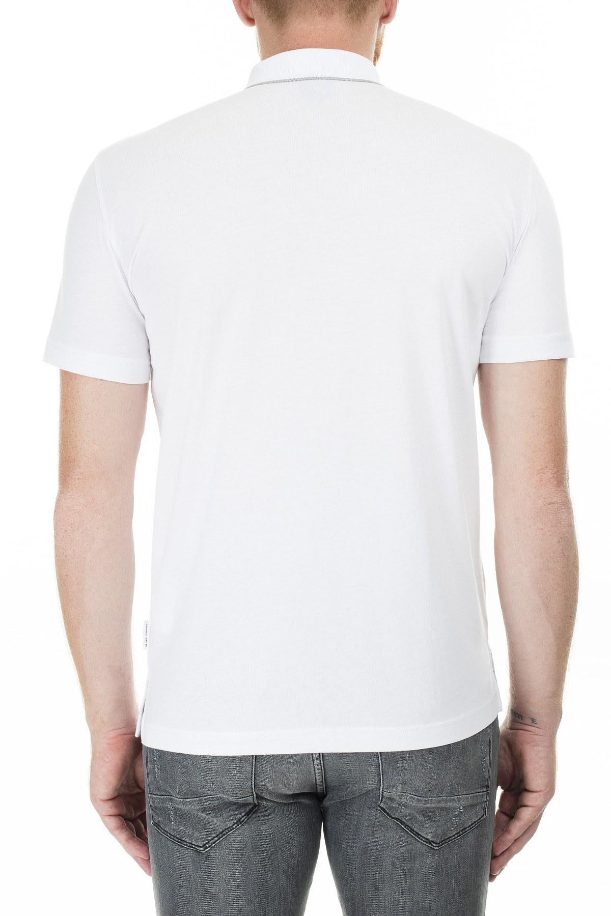 Armani Exchange Logo Baskılı Regular Fit Düğmeli T Shirt Erkek Polo 3HZFGA ZJH4Z 1100 BEYAZ