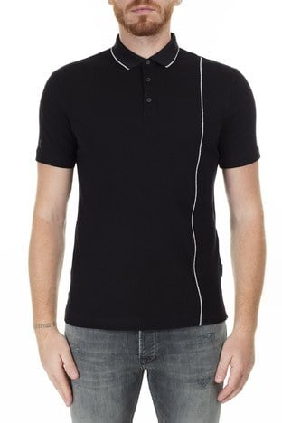 Armani Exchange - Armani Exchange Logo Baskılı Regular Fit Düğmeli T Shirt Erkek Polo 3HZFGA ZJH4Z 1200 SİYAH