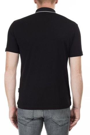 Armani Exchange - Armani Exchange Logo Baskılı Regular Fit Düğmeli T Shirt Erkek Polo 3HZFGA ZJH4Z 1200 SİYAH (1)