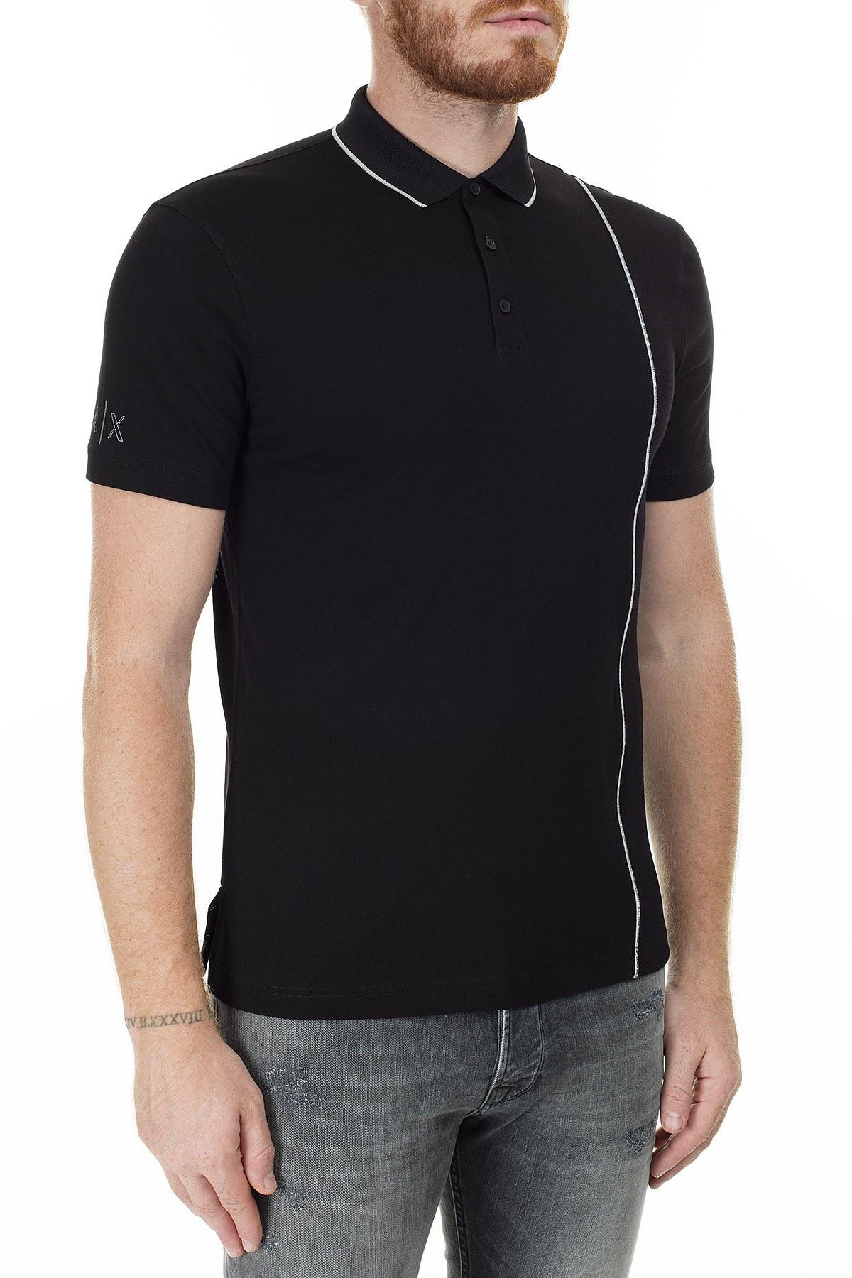 Armani Exchange Logo Baskılı Regular Fit Düğmeli T Shirt Erkek Polo 3HZFGA ZJH4Z 1200 SİYAH