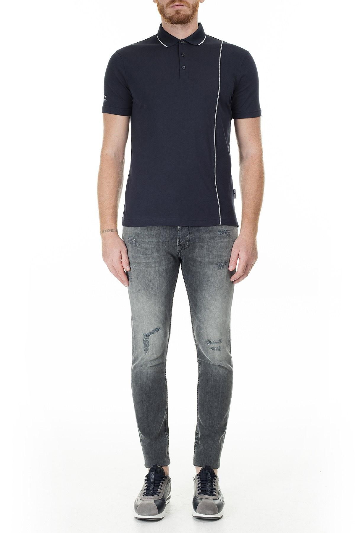 Armani Exchange Logo Baskılı Regular Fit Düğmeli T Shirt Erkek Polo 3HZFGA ZJH4Z 1510 LACİVERT