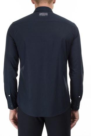 Armani Exchange - Armani Exchange Logo Baskılı Regular Fit Uzun Kollu Erkek Gömlek 3HZC24 ZNM5Z 8579 LACİVERT (1)