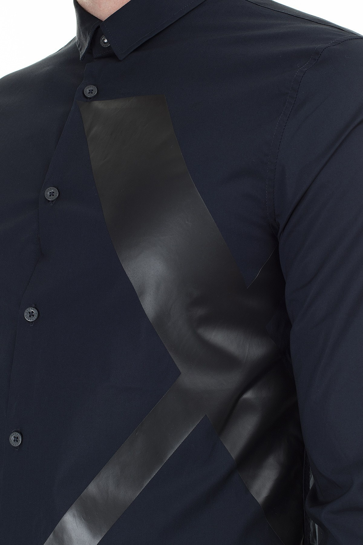 Armani Exchange Logo Baskılı Regular Fit Uzun Kollu Erkek Gömlek 3HZC24 ZNM5Z 8579 LACİVERT