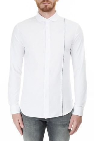 Armani Exchange - Armani Exchange Logo Baskılı Şerit Regular Fit Uzun Kollu Erkek Gömlek 3HZCGA ZJH4Z 1100 BEYAZ