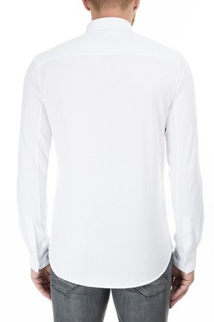 Armani Exchange - Armani Exchange Logo Baskılı Şerit Regular Fit Uzun Kollu Erkek Gömlek 3HZCGA ZJH4Z 1100 BEYAZ (1)