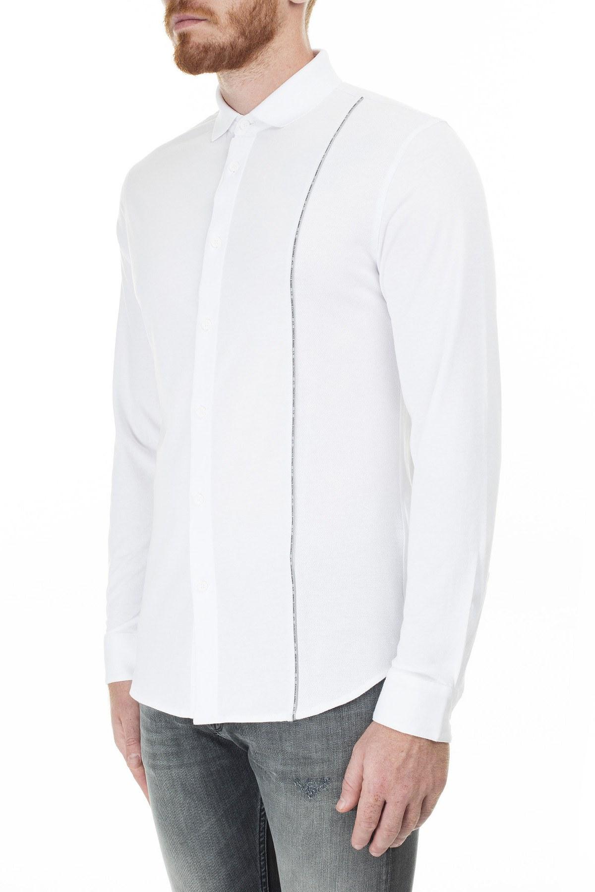 Armani Exchange Logo Baskılı Şerit Regular Fit Uzun Kollu Erkek Gömlek 3HZCGA ZJH4Z 1100 BEYAZ