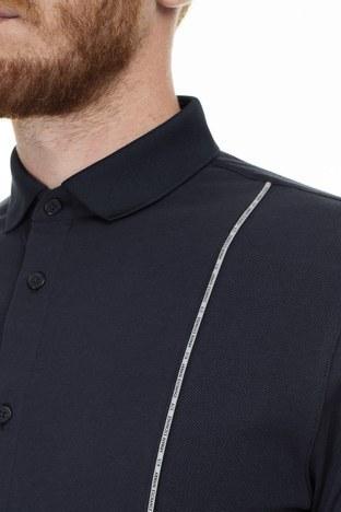 Armani Exchange Logo Baskılı Şerit Regular Fit Uzun Kollu Erkek Gömlek 3HZCGA ZJH4Z 1510 LACİVERT