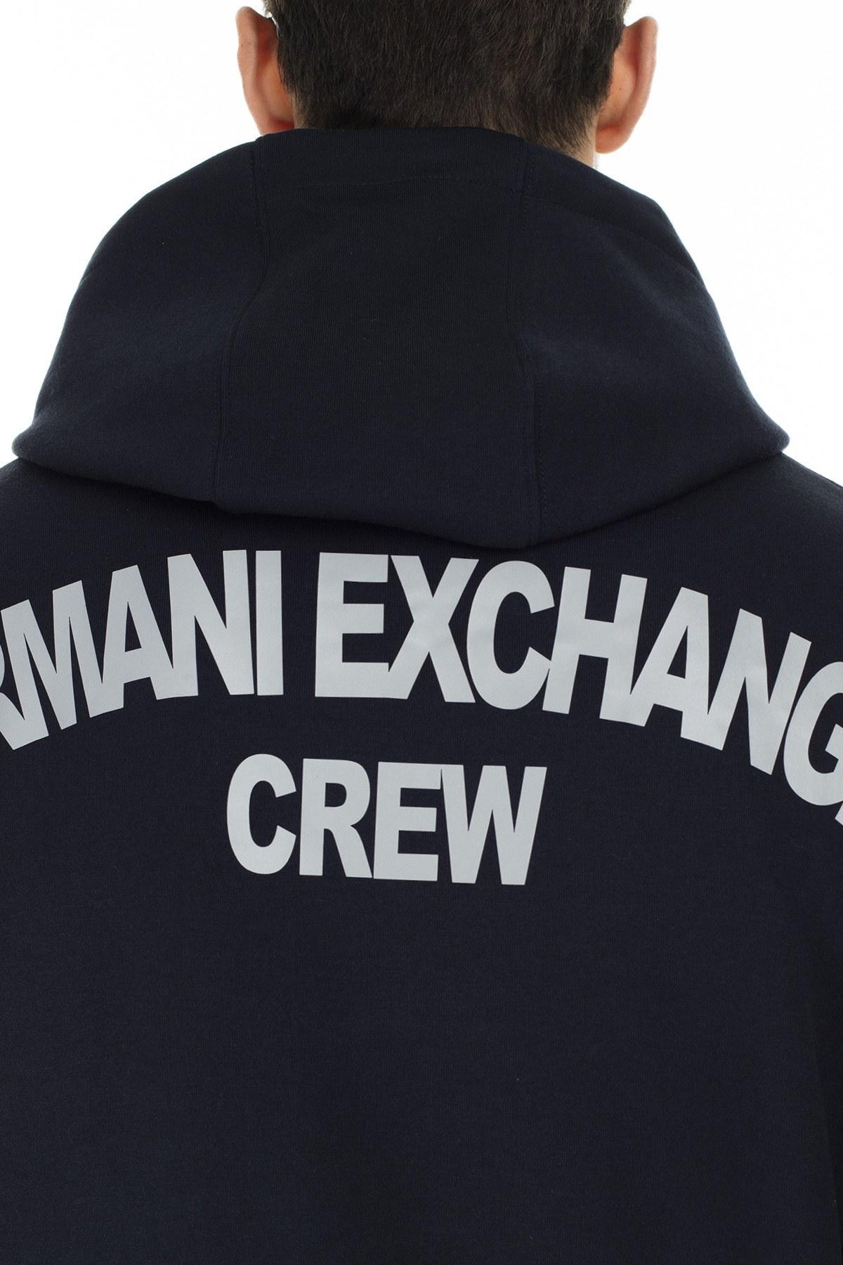 Armani Exchange Logo Detaylı Arkası Baskılı Kapüşonlu Erkek Sweat S 6GZMGG ZJY1Z 1583 LACİVERT