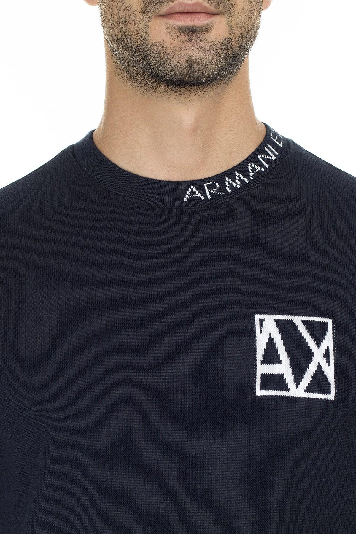 Armani Exchange Marka Logolu % 100 Pamuk Sıfır Yaka Erkek Kazak 6GZM2P ZMP8Z 1510 LACİVERT