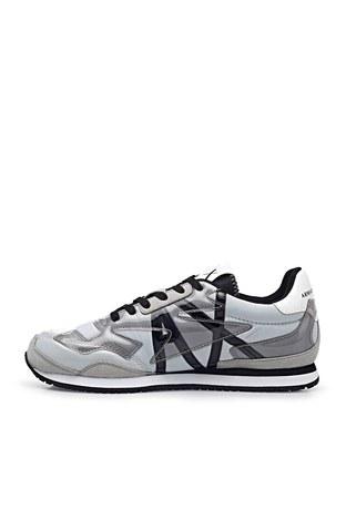 Armani Exchange - Armani Exchange Marka Logolu Sneaker Bayan Ayakkabı XDX052 XV357 K525 BEYAZ-GRİ (1)