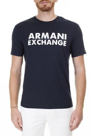 Armani Exchange - Armani Exchange Önü ve Arkası Baskılı Bisiklet Yaka Erkek T Shirt 3HZTAU ZJA5Z 1510 LACİVERT