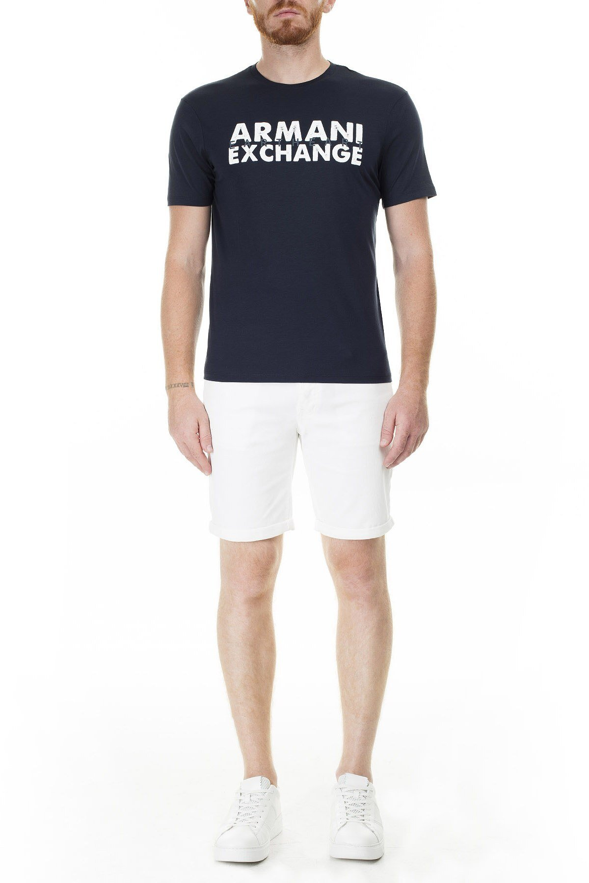 Armani Exchange Önü ve Arkası Baskılı Bisiklet Yaka Erkek T Shirt 3HZTAU ZJA5Z 1510 LACİVERT