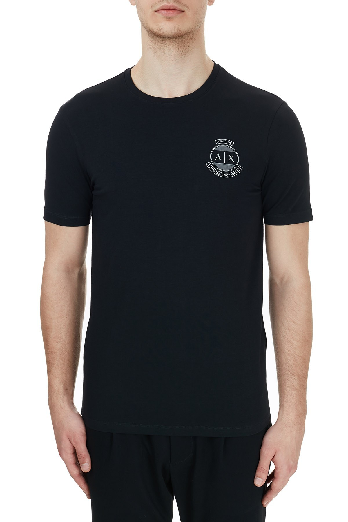 Armani Exchange Pamuklu Baskılı Bisiklet Yaka Erkek T Shirt 6HZTFL ZJE6Z 1200 SİYAH