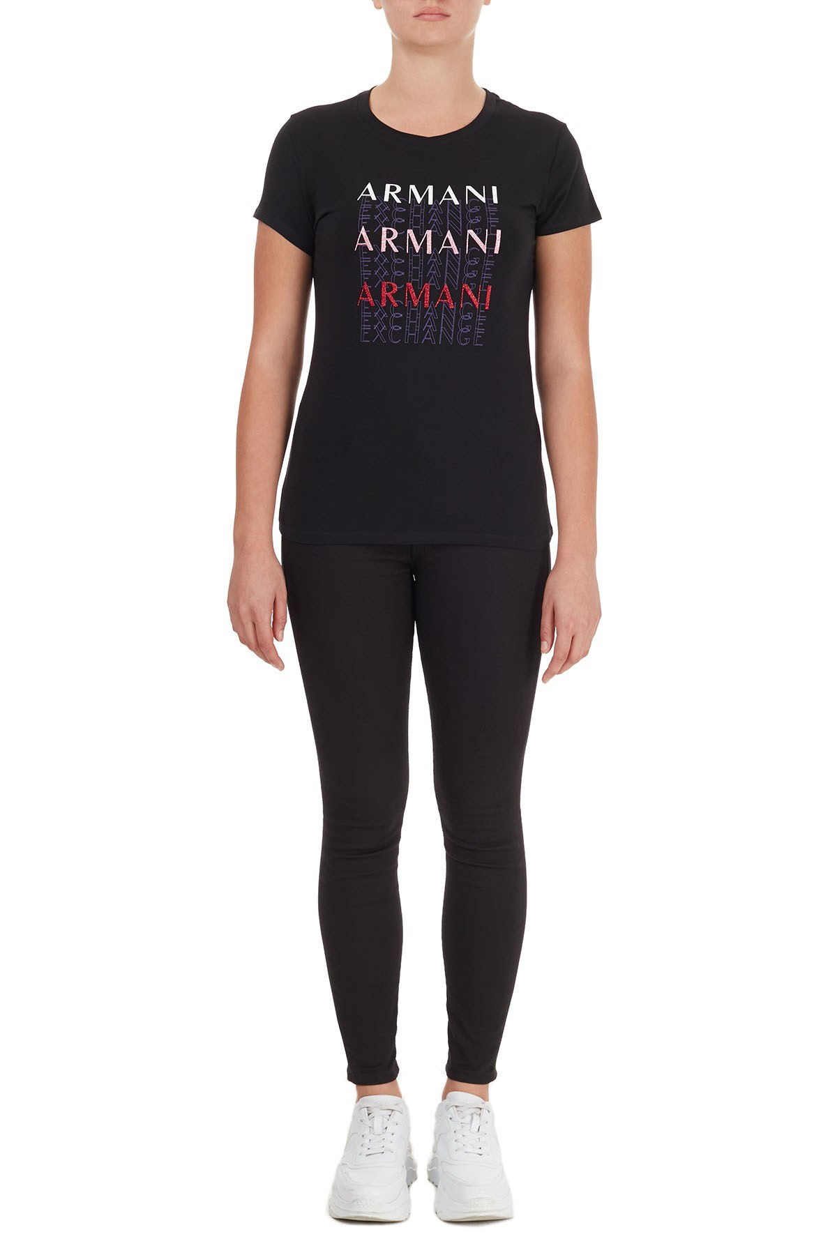 Armani Exchange Pamuklu Baskılı Bisiklet Yaka Bayan T Shirt 6HYTAM YJ7GZ 1200 SİYAH