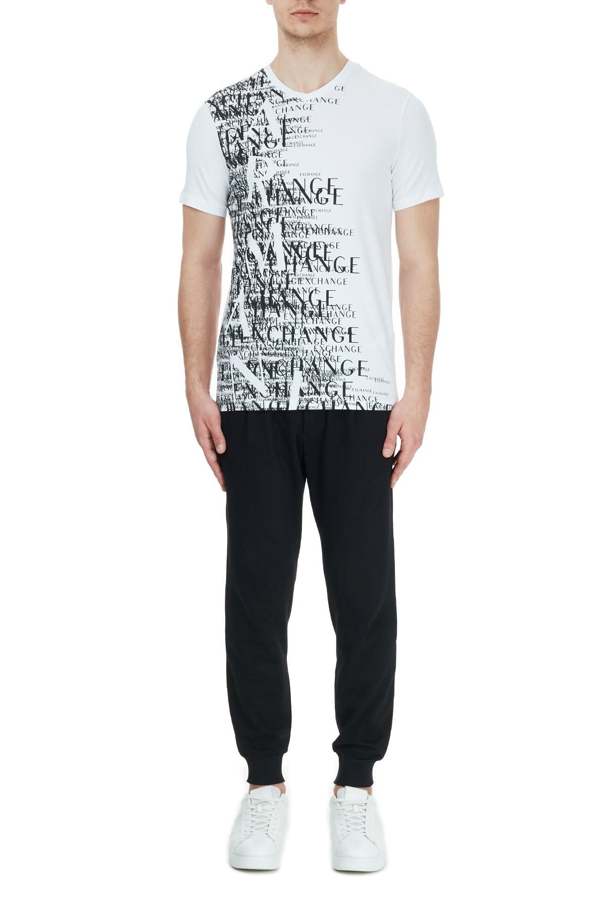 Armani Exchange Pamuklu Baskılı V Yaka Erkek T Shirt 6HZTFN ZJE6Z 8153 BEYAZ