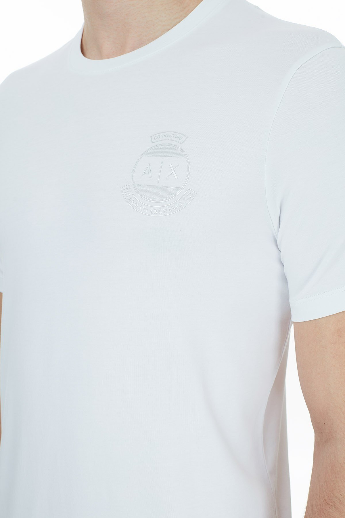 Armani Exchange Pamuklu Bisiklet Yaka Erkek T Shirt 6HZTFL ZJE6Z 1100 BEYAZ