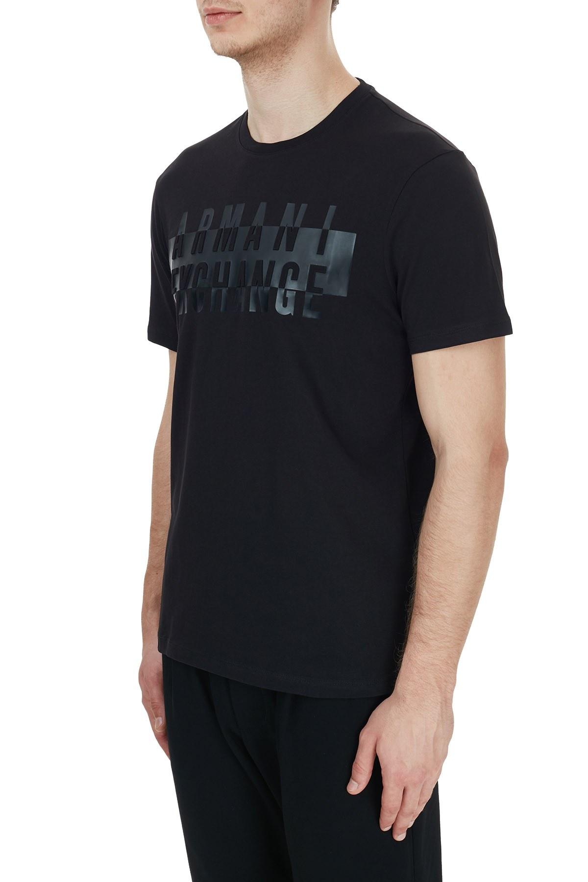 Armani Exchange Pamuklu Bisiklet Yaka Erkek T Shirt 6HZTGD ZJH4Z 1200 SİYAH