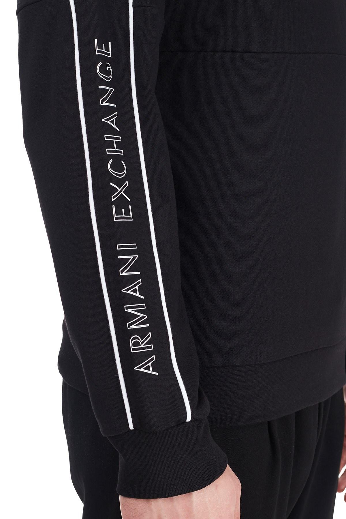 Armani Exchange Pamuklu Logo Baskılı Bisiklet Yaka Erkek Sweat 6HZMAT ZJ7RZ 1200 SİYAH