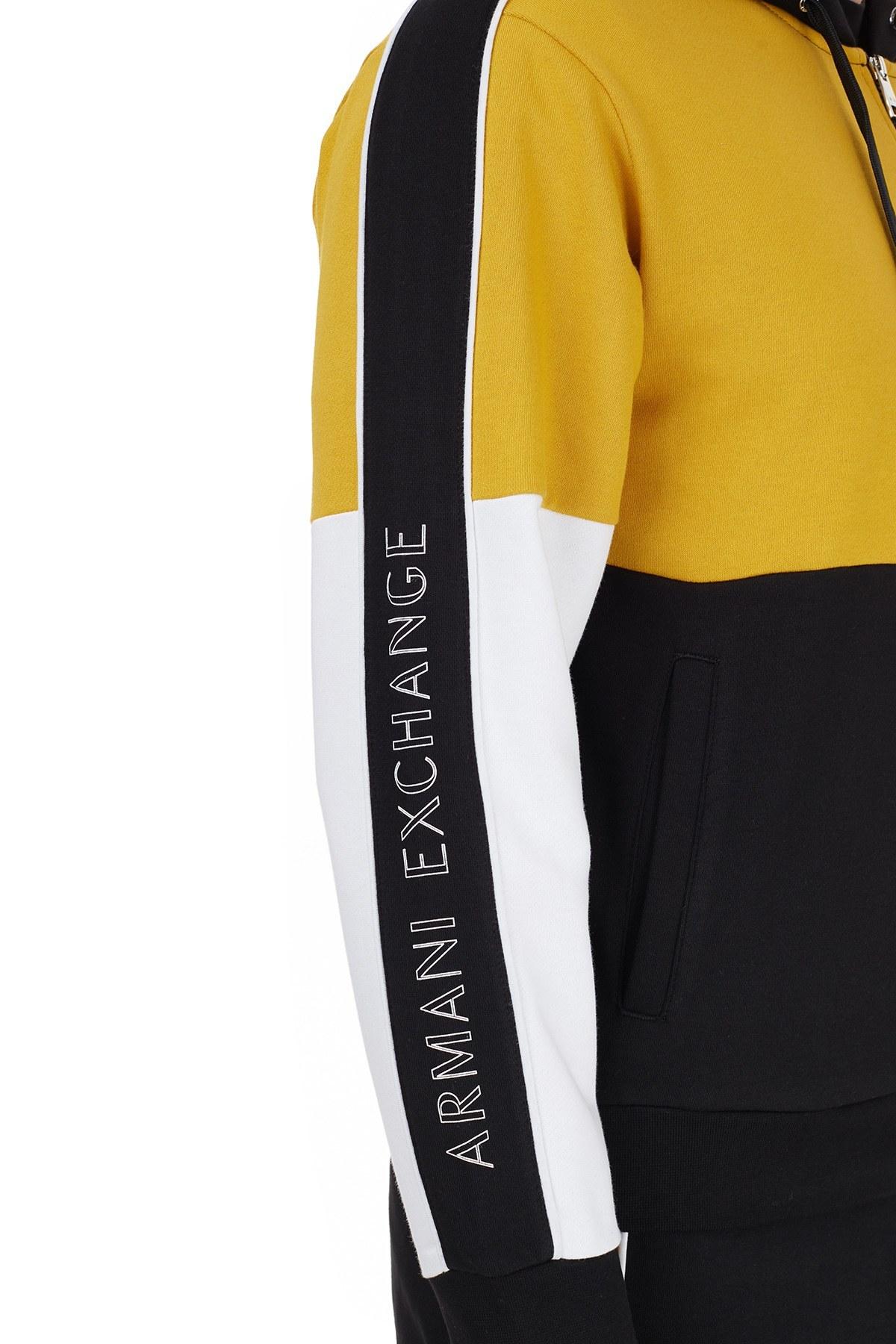 Armani Exchange Pamuklu Renk Bloklu Kapüşonlu Örme Erkek Sweat 6HZMAA ZJ7RZ 7265 SİYAH