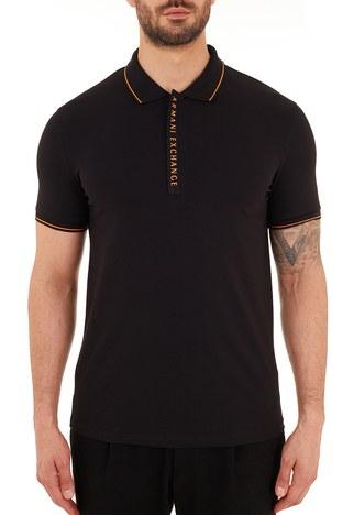 Armani Exchange - Armani Exchange Pamuklu Slim Fit T Shirt Erkek Polo 8NZF71 ZJH2Z 2268 SİYAH